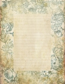 lined page grungy stationary blue floral background