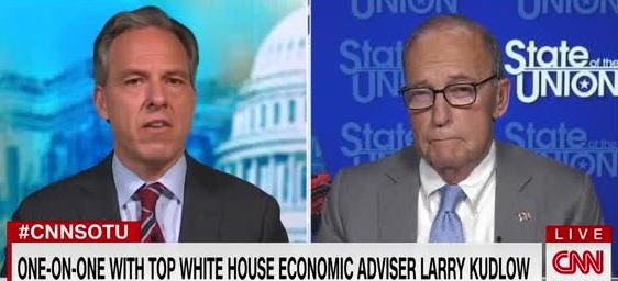 """Jake Tapper Laughs During Interview With Larry Kudlow: """"He's Like A Constipated Cow Chewing It's """"Kud"""""""